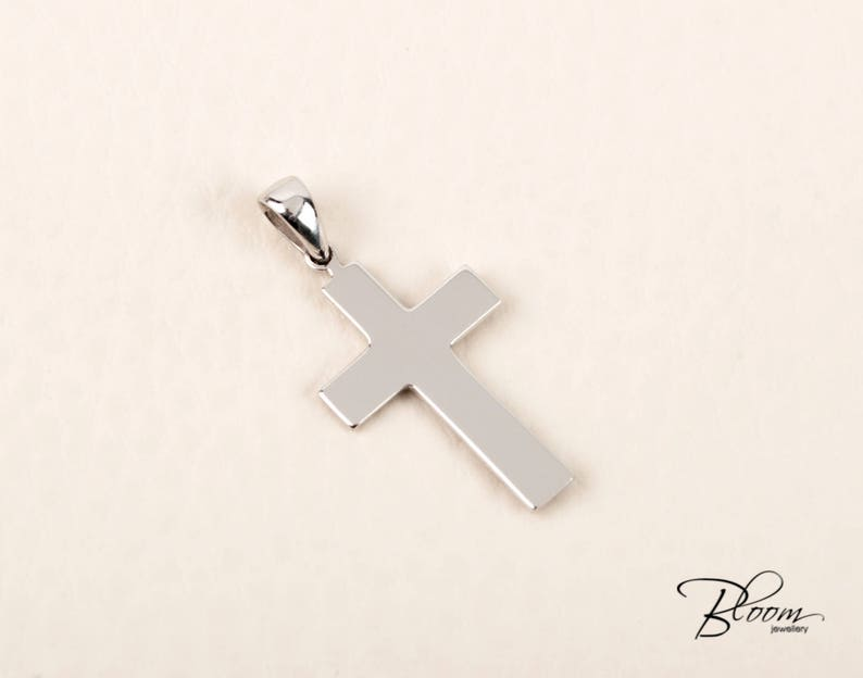 14K White Gold Cross Pendant Baptism Gold Cross Pendant Solid Gold White Gold Cross Necklace for Boys Unisex Gold Cross BloomDiamonds
