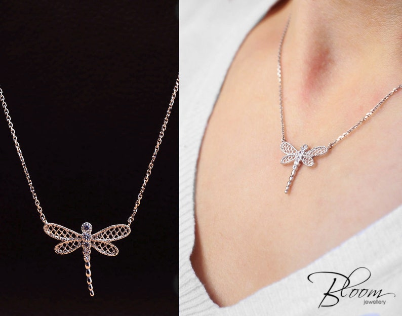 c91583e37 Dragonfly Necklace 14K White Gold Dragonfly Womens Necklace | Etsy