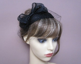 3c90b2db Black fascinator sinamay teardrop veiled hat with bow & french net veil  1940s 1950s style headpiece wedding funeral occasion wear formal hat