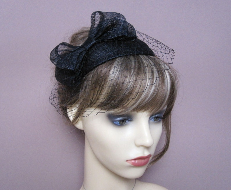 Black fascinator sinamay teardrop veiled hat with bow & french image 0