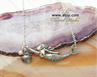 Clam Shell Teardrop Pendant  Natural Mother of Pearl Necklace  925 Sterling Silver  Beach Jewelry  Mermaid Jewelry