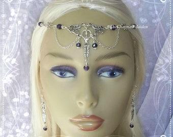 Wicca Moon Triple Goddess Circlet Belisama Tiara Diadem Triple Moon Pagan Real Moonstone Mother Goddess
