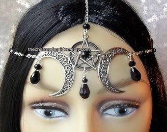 Wiccan Moon Headdress, Black Gothic Headdress, Pentagram Moon Circlet, Pagan Headpiece, Pentacle Headdress, Witch, Wicca, OTHER COLOURS