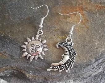 Sun & Moon Earrings, Asymmetrical Earrings, Silver Charm Earrings, Celestial Earrings