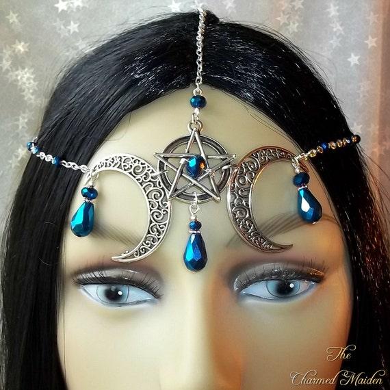 Black /& Gold Medieval Headdress MADE TO ORDER Gothic Headpiece Pagan Circlet