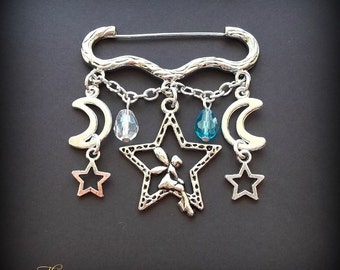Fairy Moon & Stars Brooch, Fairy Brooch, Silver Stars Brooch, Kilt Pin Brooch, Pagan Brooch, Wiccan, Wicca, Witch, Crescent Moon, Fae, Pixie