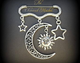 Sun Moon and Stars Brooch, Silver Moon Brooch, Sun Brooch, Star Brooch, Celestial Brooch, Crescent Moon, Astronomy, Day and Night