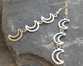 Silver Moons Earrings, Moon Drop Earrings, Wicca Earrings, Pagan Earrings, Gothic Earrings, Crescent Moon Earrings, Goth, Wiccan, Witch