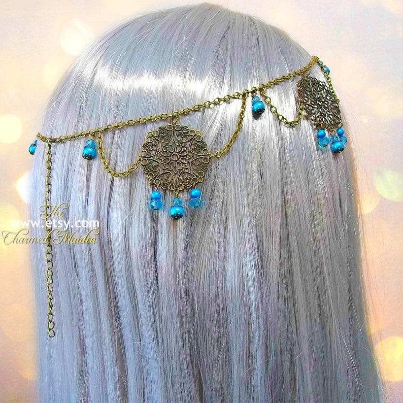 Medieval Bronze /& Turquoise Filigree Circlet Crown Renaissance Costume Headpiece Medieval Princess Pearl Wedding Bridal Headdress