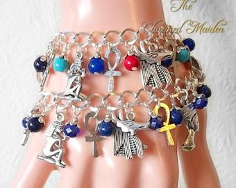 Egyptian Charm Bracelet, Lapis Lazuli Bracelet, Egyptian Charms, Egyptian Jewellery, Egyptian Goddess, Isis, Nefititi, Anubis, Serpent, Ankh