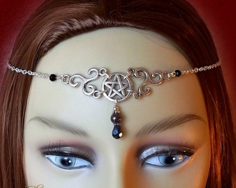 Pentagram & Triskele Circlet, Hematite Circlet, Celtic Headpiece, Wicca Head Chain, Wiccan Headdress, Gothic Wedding, Pagan Tiara,Goth Bride