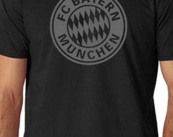 BLACK Bayern Munich FC T Shirt Custom Soccer
