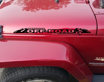 Jeep WRANGLER JK Unlimited Mountain Hood Decal Stickers 1 Pair SH-1137