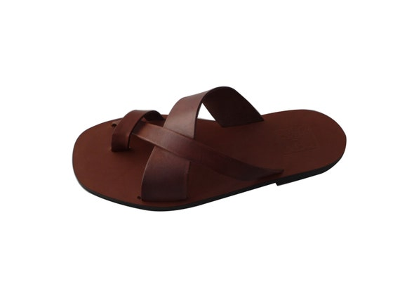 Men natural sandals in leather, handmade, made in Italy, handmade sandals with rubber sole, colored