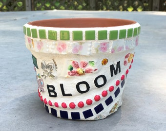 "Mosaic Flower Pot ""BLOOM"" Whimsical Planter"