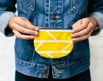 Coin Purse Mustard Convergence Print Graphic Screenprinted Cotton with Navy zip and hand-stamped leather puller - hand printed
