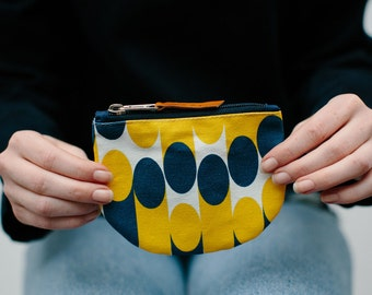 Coin Purse Mustard Yellow & Blue 'Milkky' Print - colourful, bright, patterned with hand-stamped veg-tan leather puller