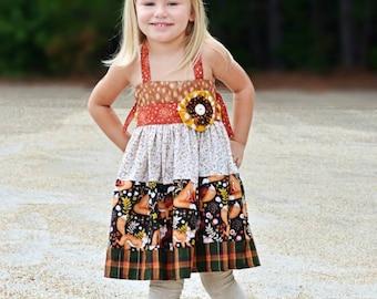 193e43f5a Finley Fox Dress .. Pink PomPon - girl's fall dress, fox dress, toddler  girl clothing, toddler girl dress, girl's dress, thanksgiving dress