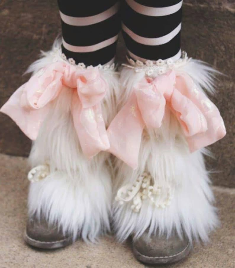 Abigail Boot Cuffs//Pink PomPon//white fur boot cuff boot image 0