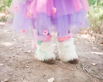 Everly Boot Cuffs - Pink PomPon - unicorn costume, unicorn boot covers, white fur boot cuffs, unicorn hooves, fur leg warmers, fur boots