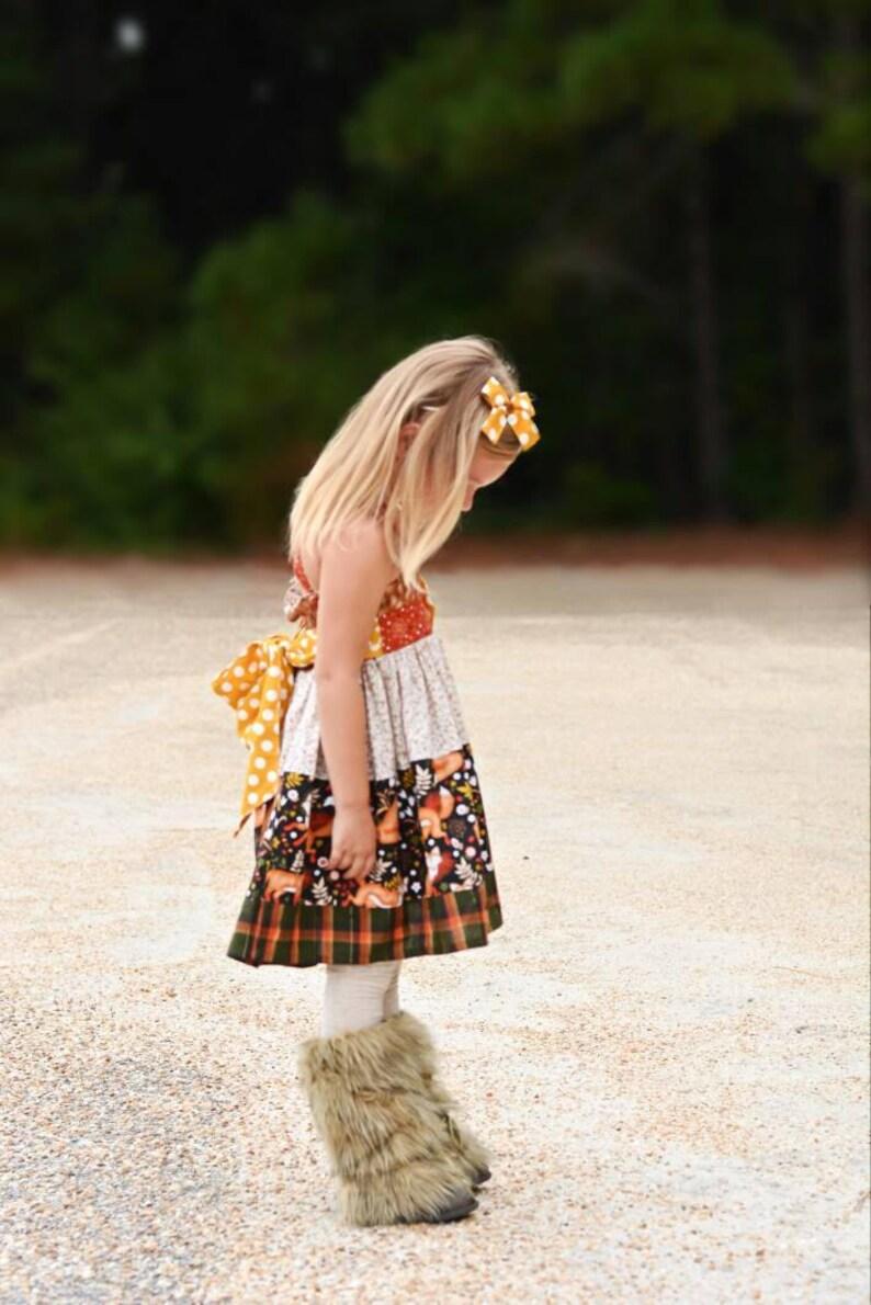 65f8dbf61 Finley Bundle.. Pink PomPon Fox dress toddler fall dress | Etsy