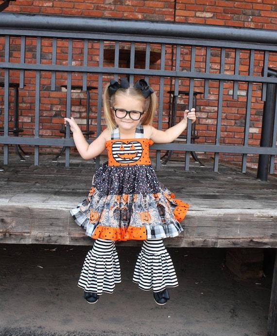 f5b3cc8c3410f Sabrina - Halloween girl's outfit, Halloween dress, jackolantern dress,  halloween pageant, pumpkin dress, girls boutique outfit, pumpkin