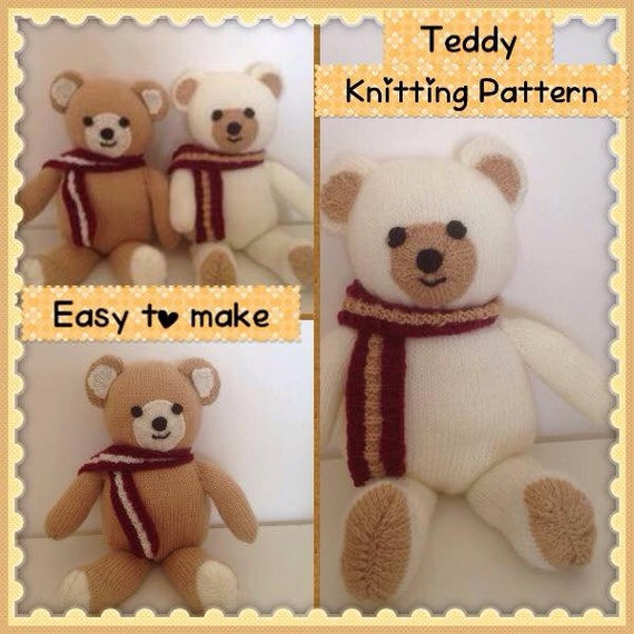 Teddy Bear Knitting Pattern Soft toy Knitting Pattern for beginners ...