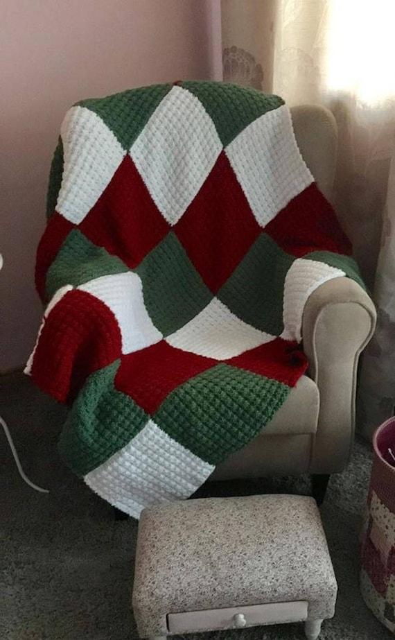 Knitting Pattern Blanket Patchwork Christmas