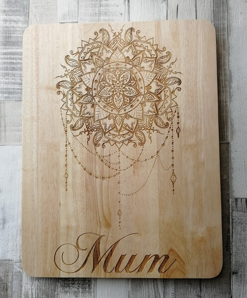 Large Personalised Mandala Themed Wooden Pastry Board Mothers Day Birthday Gift