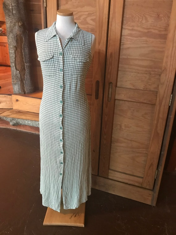 1999s Green Gingham Dress