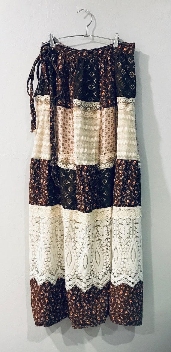 Vintage 1970s Patchwork Maxi Skirt
