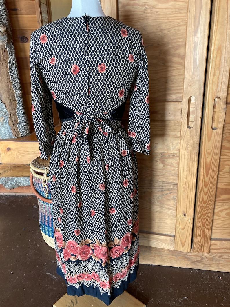 Vintage Velvet Vested Long Sleeve Dress