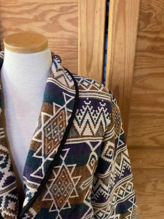 Vintage Aztec Heavy Cotton Cropped Blazer