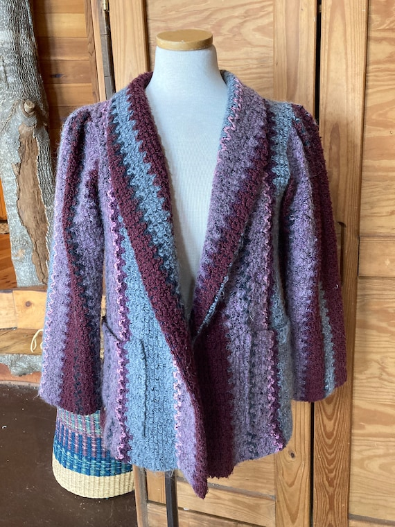 Vintage Purple and Blue Mohair Blazer