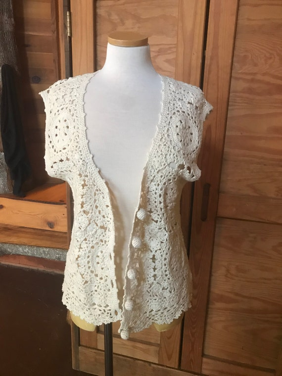 Vintage 1970s Crocheted Vest with Bauble Buttons