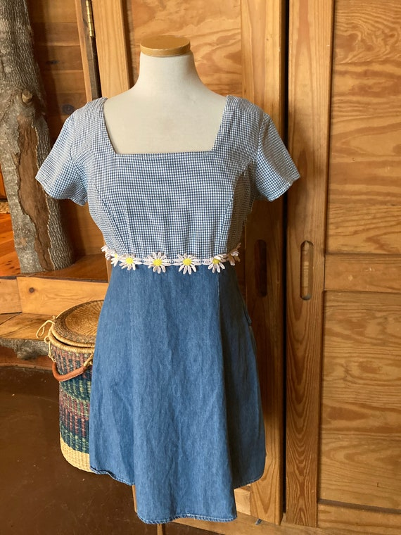 Vintage 1990s Denim Daisy Mini Dress