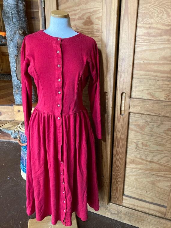 Vintage Red Eddie Bauer Cotton Maxi Dress