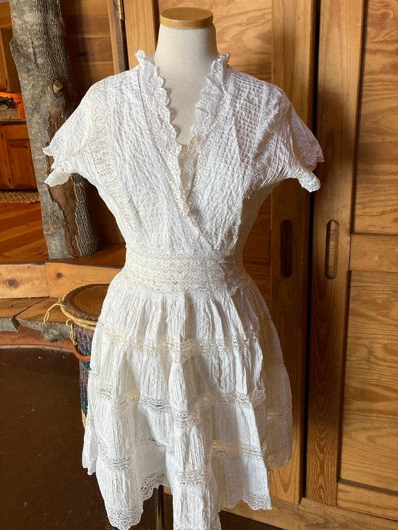 Vintage Victorian Cotton Eyelet Dress