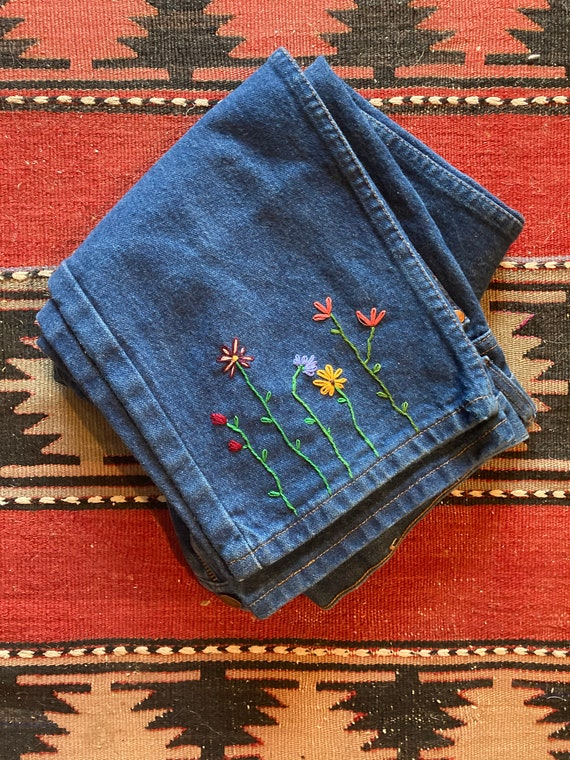 "Vintage Hand Embroidered 33""x30"" Wranglers"