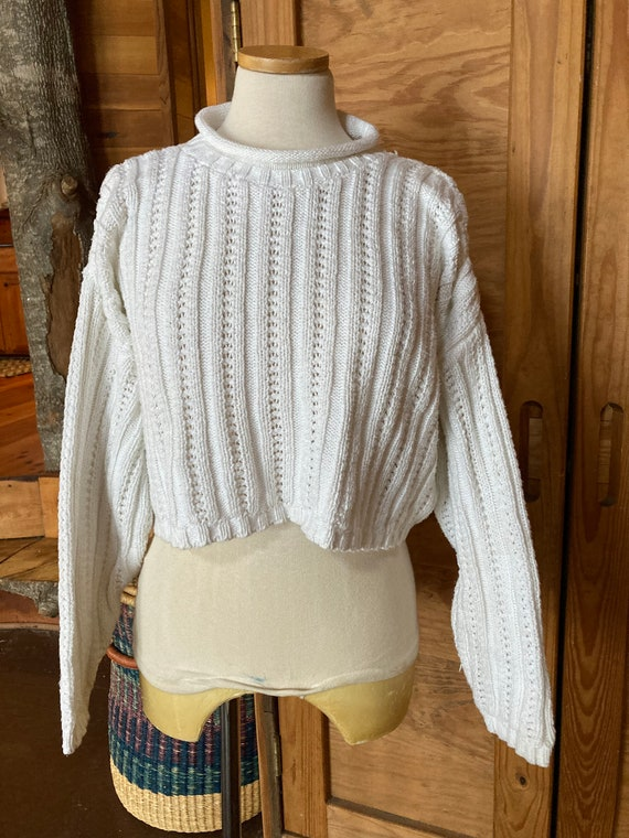 Vintage 1990s Cropped Cotton Sweater