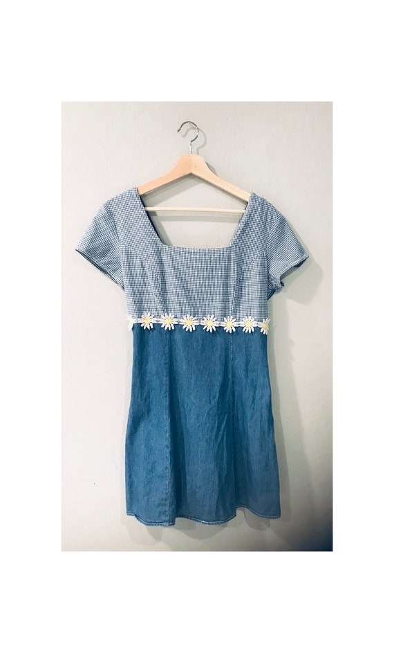Vintage 1990s Denim Daisy Mini Dress