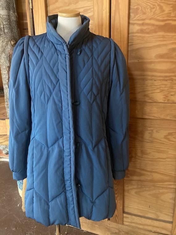 Vintage 1980s Stone Blue Puffer Coat
