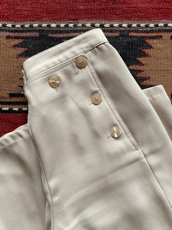 Vintage Sailor Buttoned Silky Wide Leg Pants