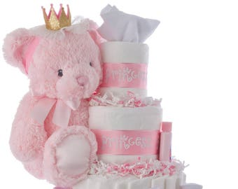 Lil' Princess Baby Girl Diaper Cake by Lil' Baby Cakes