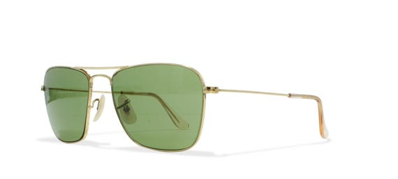 96d426734ef RayBan Caravan 12k Gold Vintage Sunglasses Rectangular For Men