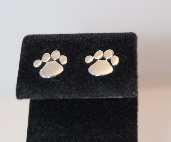 24aa3763f Sterling Silver Paw Print Stud Earrings Cat or Dog | Etsy
