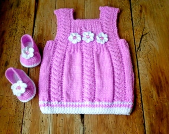 Baby purple dress, baby booties, Hand knitted baby clothes, boutique baby dress, crocheted baby booties, newborn girl dress