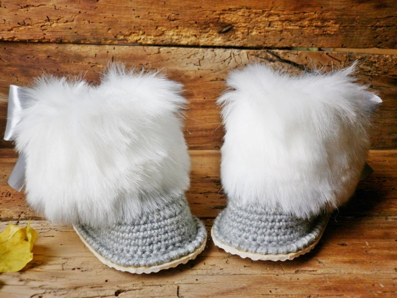 1604c2ef112dc Luxury baby crochet boots, Gucci inspired, fluffy gray boots, Newborn girl  gift, Knitted baby clothes, winter booties, boots trapper