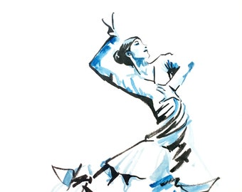 original watercolor Blue and black format 15x21 Spanish dance Woman in dress traditional flamenco gypsy costume art gift artwork framed