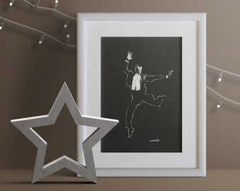 Small original and unique painting in White ink on black canson paper Fred Astaire Cheap artist gift to offer Magician dancer old movie